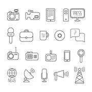 Set of flat colorful vector journalism icons. Mass media. Communication. Stock Illustration