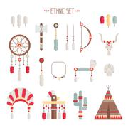Vector colorful ethnic set with dream catcher, feathers, arrows and american Stock Illustration