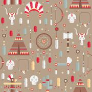 Stock Illustration of Seamless pattern of vector colorful ethnic set with dream catcher, feathers,