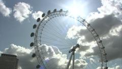 Stock Video Footage of London Eye Tilt & Tracking Shot