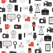 Seamless pattern of of flat colorful vector journalism icons. Mass media. Stock Illustration