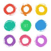Set of vector round grunge frames. Hand drawn design elements. Abstract ink - stock illustration