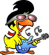 Hand-drawn vector illustration of an smart chicken playing on guitar Piirros