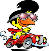 Hand-drawn vector illustration of an smart chicken driving a sports car Piirros