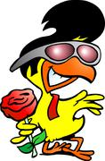 Hand-drawn vector illustration of an smart chicken holding a rose Piirros