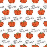 Happy Halloween. Seamless pattern with pumpkins. Trick or treat. Vector Stock Illustration