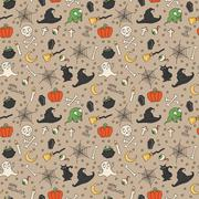 Happy Halloween. Seamless pattern with pumpkins, skulls, cats, spider's web, Stock Illustration