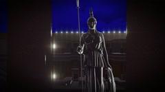 Athene statue, Athene statue in ancient stadium Stock Footage