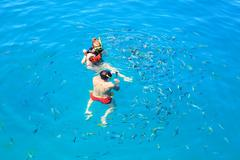 tourist snorkeling in clear blue sea water and feeding to tropical fish - stock photo