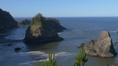 Spruce Island, Southern Oregon coast (zoom out) Stock Footage
