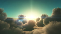 Fly over clouds in sunset 4k Stock Footage