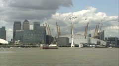 O2 Arena & Canary Wharf & Boat Stock Footage