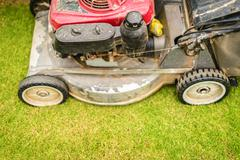 Cutting green grass in yard with lawnmower. Stock Photos