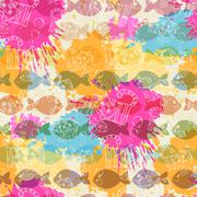 Stock Illustration of Seamless pattern on the background of colorful blots inks.