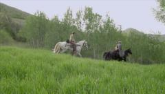 3 People Riding on Horseback in 1800's - stock footage