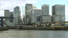 Stock Video Footage of Canary Wharf Pan & Track Shot