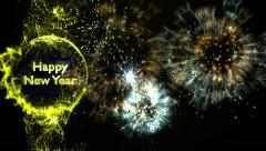 Happy New Year Text in Particles - stock footage