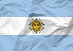 crumpled paper argentina flag - stock illustration