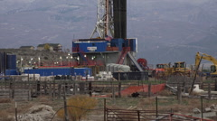 Oil rig exploration for fuel rural community HD 068 Stock Footage