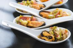 mussels vinaigrette for a good appetizer - stock photo