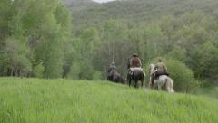 1800's Riding Away on Horseback in 4K - stock footage