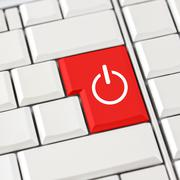 red power icon on a computer keyboard - stock photo