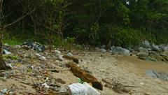 A lot of garbage on the shore of a tropical sea. environmental problem Stock Footage