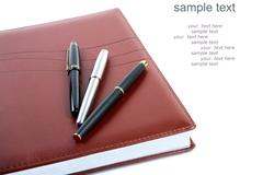 Leather organizer a fountain pen   (with sample text) Stock Photos