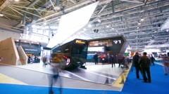 People visit ExpoCityTrans exhibition. Stock Footage