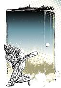Cricket poster background Stock Illustration