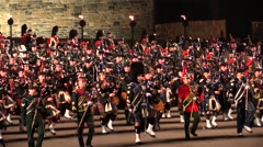 Edinburgh Military Tatoo, dances and military parade at the Castle Stock Footage