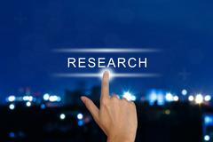 hand pushing research button on touch screen - stock illustration