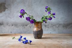 still-life with fading flowesr  in a jug - stock photo