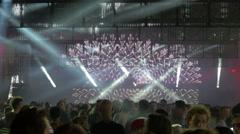 Dancing crowd at night club, 4k, UHD - stock footage
