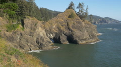 Thunder Rock Cove, Southern Oregon coast Stock Footage