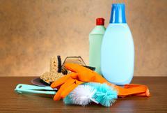 Gloves ,sponge, brush for ware washing Stock Photos