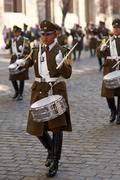 Santiago, Chile - August 12, 2014: Carabinero Drummer Stock Photos