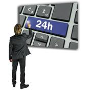 Businessman activating a 24h key on a keyboard Stock Photos