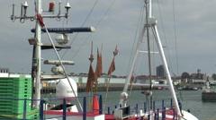Ships in de harbor of Ijmuiden Stock Footage