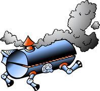 Hand-drawn vector illustration of an running bbq barrel Stock Illustration