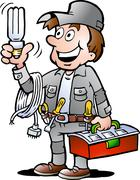 Hand-drawn vector illustration of an happy electrician handyman, holding a en Stock Illustration