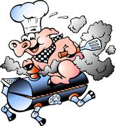 Stock Illustration of hand-drawn vector illustration of an chef  pig riding an bbq barrel