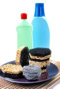kitchen sponges for ware washing on a white background - stock photo