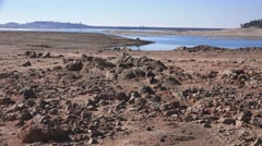 Folsom Lake , dry shrinking lake Stock Footage