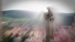The sread of energy around religious statues - stock footage