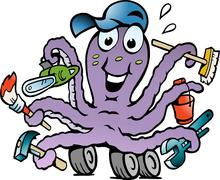 hand-drawn vector illustration of an happy busy octopus handyman - stock illustration