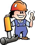 Hand-drawn vector illustration of an happy mechanic or handyman Stock Illustration