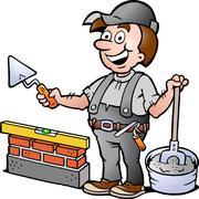 hand-drawn vector illustration of an happy bricklayer handyman - stock illustration