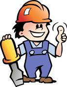 hand-drawn vector illustration of an happy mechanic handyman - stock illustration