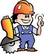 hand-drawn vector illustration of an happy mechanic or handyman - stock illustration